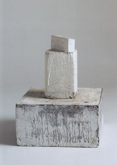 CY TWOMBLY. UNTITLED, GAETA 1995. / WOOD, WHITE PAINT, 10 X 8 5/8 X 8 INCHES.