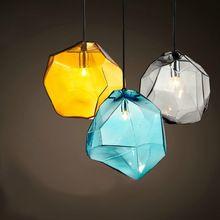 Bloque de Hielo Colgante de Cristal de Luz de La Lámpara Moderna Del Envío Libre Gris/Azul/Amarillo de la Cocina de Techo Accesorio de Iluminación Bombilla G9(China (Mainland))