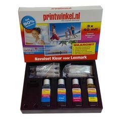 De Lexmark Navulset Kleur van zijn extra voordelig. Met deze sets kunt u met gemak uw cartridges 8 tot 10x navullen! De bundel bevat een volledige Navulset Zwart én een volledige Navulset Kleur.