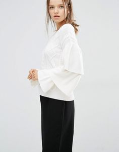 Style Mafia Stella Sweater In Cable Knit With Ruffle Sleeve