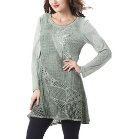 Look what I found on #zulily! Green Embroidered Tunic #zulilyfinds