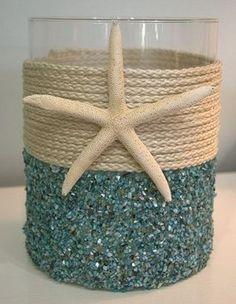 Aqua Seashell Coastal Candleholder, Creative Nautical Home Decorating Ideas, http://hative.com/creative-nautical-home-decorating-ideas/,