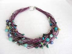 Heather Linen Necklace with agates, turquoise from Jewelry&Hand Made by DaWanda.com