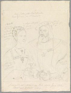 Mary Tudor and Charles Brandon, Duke of Suffolk probably by Alfred Thomas Derby, after Unknown artist pencil, after June 1842 (circa 9 in. x 7 in. mm x 194 mm) Purchased, 1893 NPG Charles Brandon, Mary Tudor, Artist Pencils, Family Genealogy, Family History, Vintage World Maps, Duke, Derby, France