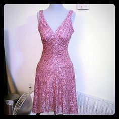 B. Darlin lace pink dress Needs stitching on center breast, but fixable Great quality, no stains, beautiful dress Lace detail B. Darlin Dresses