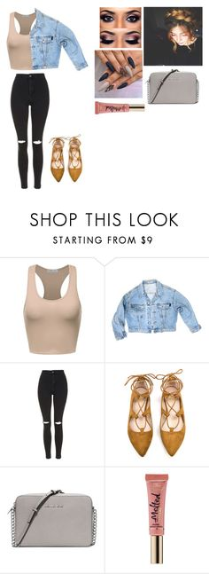 """""""Untitled #268"""" by hannahmariebanana ❤ liked on Polyvore featuring GUESS, Topshop, MICHAEL Michael Kors and Too Faced Cosmetics"""