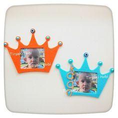 ♥ Tiryaki Hobi ♥: Keçe çerçeve magnet - TAÇ ------ felt frames,crown