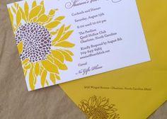 Letterpress sunflower birthday party invitation. @Hope Shirah