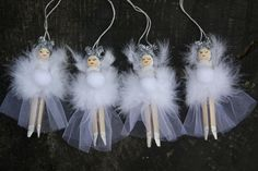 These whimsical peg doll fairies measure 12 cm long. Each fairy is individually hand made with a painted face, hair and ballerina shoes. They are