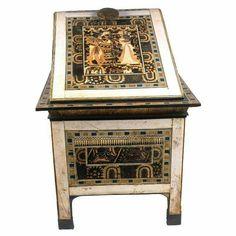 Wood with ivory box with carved scenes of Tutankhamun and Ankhesenamun.