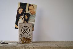 Spring Flower~ Hand Painted Photo Holder~ Distressed Wood