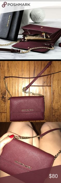 Maroon cross body Michael Kors purse It's in SUPREME condition! I used it once and it only went into the restraint out of the car! It's super cute! Make offers :) Michael Kors Bags Wallets