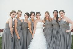 My bridesmaid dresses and gorgeous bridesmaids! (bridesmaid dresses and my wedding dress by @Monique Otero Lhuillier  ). Photography by Simon at @tylerboyephotography . Winter wedding at Normandy Farms in Blue Bell, Pa.