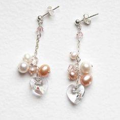 Pearl & Heart Cluster Earrings