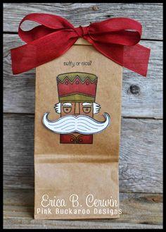 Pink Buckaroo Designs - SU - Nutcracker, Mustache Framelit, Santa Stache, gift bag