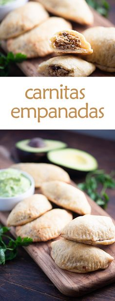 Had these for the first time. These carnitas empanadas are the perfect handheld snack or dinner recipe! They're loaded with rich carnitas and dipped in an easy avocado crema! Mexican Dishes, Mexican Food Recipes, Dinner Recipes, Dinner Ideas, Korean Recipes, African Recipes, Italian Recipes, Holiday Recipes, Avocado Crema