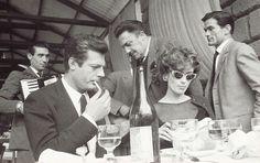 Marcello Mastroiani, Federico Fellini, Pier Paolo Pasolini and Anouk Aiméeon the set of La Dolce Vita, 1959.