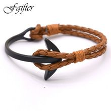 Handmade Brown Leather Bracelet Anchor Middle Black Anchor Bracelets Bangles Men's Jewelry Men's Accessories (China (Mainland))
