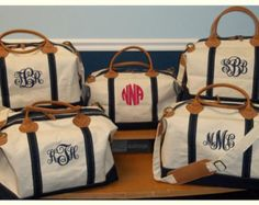 Navy Trim Monogram Canvas Carry On Weekend Duffle by TetaApparel