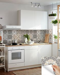 carrelage stickers 24 tile stickers Mexican Talavera style Splashback stickers mixed for walls Kitchen decals bathroom Stair decals Bathroom Tile Stickers, Kitchen Wall Decals, Tile Decals, Vinyl Tiles, Kitchen Stickers, Knoxhult Ikea, Kitchen Backsplash, Kitchen Cabinets, Backsplash Design