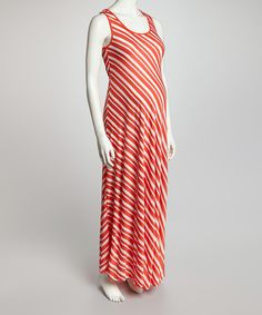Take a look at the QT Maternity QT Orange & White Stripe Maternity Maxi Dress - Women on #zulily today!