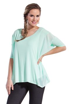 Layla Top with a breezy chiffon panel detail. made with #ecofriendly bamboo www.lnbf.ca