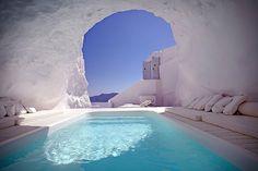 Cave pool, Santorini, Greece 27 Absolutely Stunning Underground Homes Santorini Travel, Greece Travel, Santorini Greece, Santorini Island, Crete Greece, Athens Greece, Hotel Grecia, Katikies Hotel Santorini, Best Places In Greece