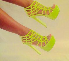 Fluorescent Yellow Neon Sandals