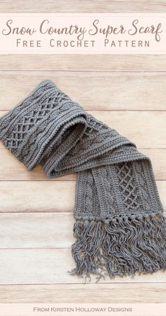 Free Crochet Scarf Pattern for Winter - Free Crochet Scarf Pattern for Winter Crochet a super scarf to keep warm this winter with this free pattern. This long scarf has lots of texture and can be for men or for women! Crochet Diy, Bonnet Crochet, Crochet Gratis, Crochet Shawl, Crochet Stitches, Womens Crochet Hats, How To Crochet A Scarf, Crochet Scarves For Men, Things To Crochet