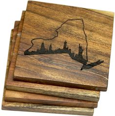 **Set of Four** 4 x 4 inch handmade square coaster made of solid acacia wood. Engraved design. Coasters come in a set of 4.