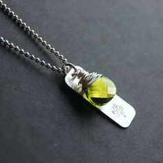 Green Tree of Life Bar Necklace Olive Green by TheAzureRose