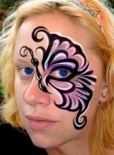 face painting mask designs | Purple and Black Butterfly (Face Painting) by Catherine Pannulla