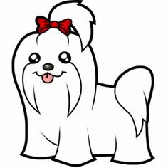 cute maltese cartoons | Cartoon Maltese (red bow topknot) Photo Cutout
