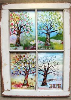 Shirley's trees window pane framed four seasons mixed media tree by fromvictoryroad Painted Window Panes, Window Pane Art, Wooden Window Frames, Old Window Projects, Art Projects, Window Ideas, Sketch Manga, Window Design, Diy Frame