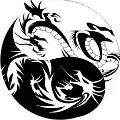 The black dragon, a mark and a blemish on the light world above, in a position of dominance, of power, incredible and terrible. The White dragon below, the skeletal remains of purity in a sea of shadows, facing up and sinking down. Their eyes lock, and meet in the center of eternity, for eternity.