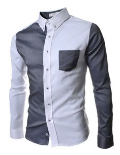 TheLees (AL338) Mens Slim Fit Long Sleeve 2 Tone Stretchy Pocket Shirts White $35.99