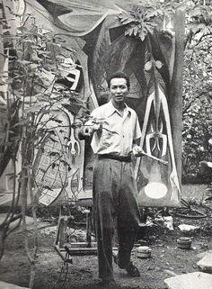 Wifredo Lam, at the Panorama house, Marianao, Havana, Cuba 1940s