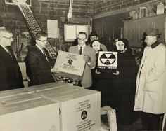 Fallout Shelter Stocking, 01/22/1963 Records of the Office of the Chief of Engineers, National Archives Identifier: 7419775 This is a photograph of fallout shelter supplies being distributed to nuns at the Villa Augustana Academy in Goffstown, New Hampshire. The nuns in the photograph include Mother Wilfred and Mother Superior Liguori. (digitized by teachers in our Primarily Teaching 2013 Summer Workshop at our Boston location.) via DocsTeach