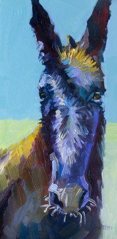 Burro Painting - Burro Stare by Diane Whitehead