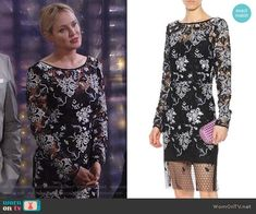 Sharon's black and white lace dress on The Young and the Restless. Outfit Details: https://wornontv.net/91714/ #TheYoungandtheRestless