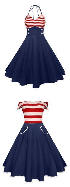 American Flag Halter Vintage Dress