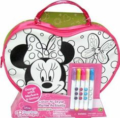 Tara Toy Minnie Color N Style Heart Purse by Tara Toy. $11.99. Made of strong canvas material. Purse that can be customized using markers and gem stickers included in the set.. For ages 3+. Large enough to hold a girls favorite small accessories inside. Great for travel. From the Manufacturer                Color you very own Minnie Mouse themed purse.  Purse is designed in a heart shape with black line are on the front that you can color and personalize with markers  and...