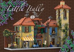 Brown Roofs, Small Coffee Shop, Italian Village, Lego Building, Building Ideas, Lego Modular, Kitchens And Bedrooms, Very Grateful, Little Italy