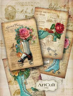 SHUES VINTAGE - hoja imprimible Collage técnica 5x3.5 pulgadas tamaño tarjetas de felicitación digitales descargar de ArtCult en Etsy https://www.etsy.com/es/listing/127766524/shues-vintage-hoja-imprimible-collage