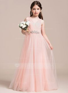 A-Line Princess V-neck Floor-Length Ruffle Beading Sequins Zipper Up  Regular Straps Sleeveless No Pearl Pink General Tulle Junior Bridesmaid  Dress 44a3ba8cf27a
