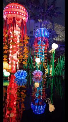 Arte Hippy, Chinese Lantern Festival, Light Art Installation, Party Decoration, Chinese Lanterns, Stage Design, Event Decor, The Little Mermaid, Alice In Wonderland