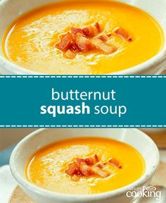 Warm up your winter with this creamy and delicious soup. Crispy bacon adds just the right touch to make this dish extraordinary! Tap or click photo for this Butternut Squash Soup with Crispy Bacon Kraft Recipes, Bacon Recipes, Soup Recipes, Cooking Recipes, Healthy Recipes, Recipies, Crispy Bacon Recipe, Soup Kitchen, Butternut Squash Soup
