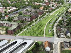 Hamburg is burying the Autobahn and putting parks on top - Vox Park Landscape, Landscape Architecture, Landscape Design, Green Corridor, Linear Park, New Urbanism, Eco City, Noise Pollution, Park Playground