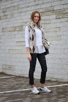 Casual black & white spring outfit with Zara faux fur vest and leather pants, Armani Jeans sneakers, Chicwish crochet sweater and lace top