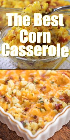 The BEST Corn Casserole seriously delicious Creamed corn loaded with cheddar and bacon SO good Can make ahead of time and refrigerate or freezer for later Corn eggs flou. Side Dish Recipes, Veggie Recipes, Easy Corn Recipes, Canned Corn Recipes, Easter Recipes, All Food Recipes, Freezer Corn Recipe, Potato Recipes, Easy Comfort Food Recipes
